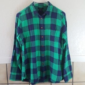 J. Crew Green and blue buffalo plaid shirt Size 8